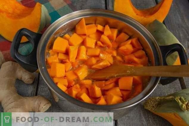 Kürbismarmelade mit Ingwer erhitzen