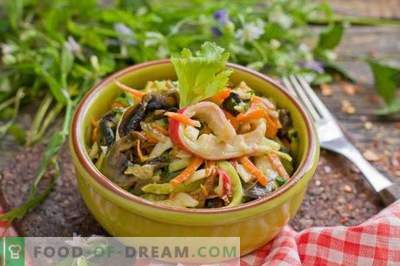 Crab salad with cucumber and mushrooms