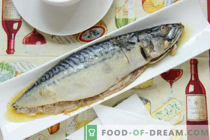 Makrele, in Ofen gebacken in Folie mit Sauerrahm, Rezept für Schritt