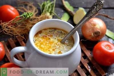 Frische Kohlsuppe mit Radieschen und Tomaten