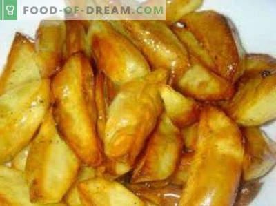 Kochen von Kartoffeln in der Mikrowelle mit Käse, Fleisch, Speck, Pommes Frites, gekocht