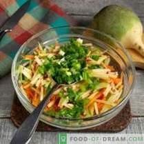 Nützlicher Salat von grünem Rettich mit Karotten