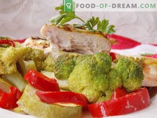 Hähnchenbrust mit Gemüse gebacken