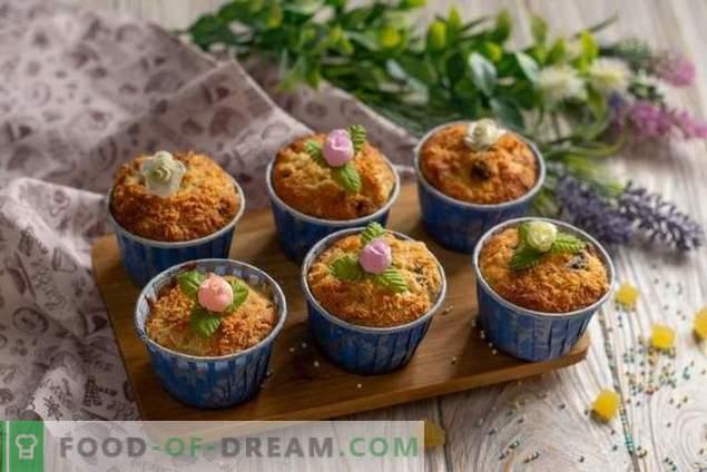 Einfache Muffins mit Birnen und Nüssen