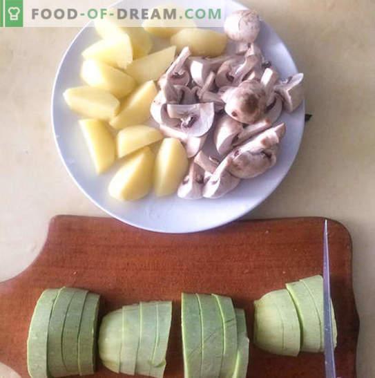 Pechuga de pollo en una salsa cremosa de queso con verduras - receta con foto