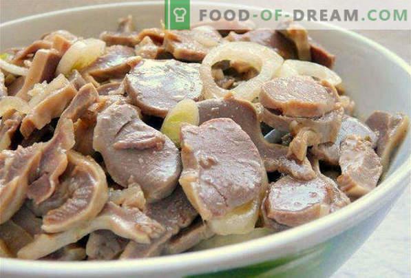 Cómo cocinar deliciosos estómagos de pollo en una sartén, en una olla de cocción lenta, en un horno, en crema agria, en ollas