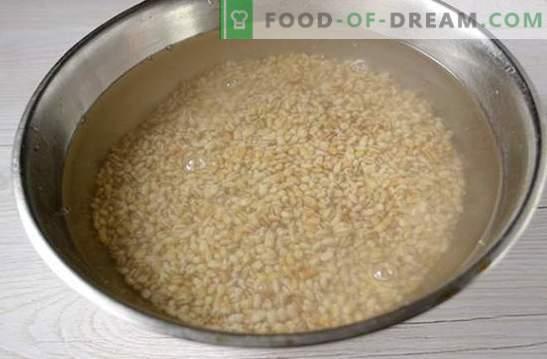 Pilzperlgerste: Eine Fastenteller. Schnell und sehr einfach: ein Fotorezept zur Herstellung von Gerste mit Pilzen