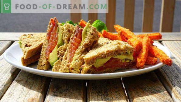20 Sandwiches für den Feiertagstisch, Rezepte mit Fotos, mit rotem Fisch, Hering, Kaviar, scharf, Canapes