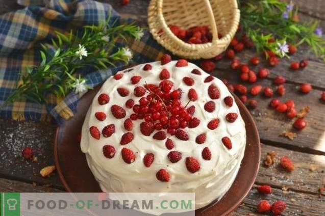 Biskuitkuchen mit Erdbeeren und Sahne