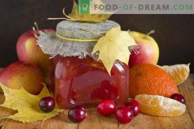 Apfelmarmelade mit Preiselbeeren und Zitrusfrüchten