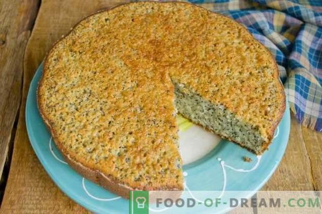 Mannik mit Mohnblume auf Kefir - einfacher und leckerer Kuchen