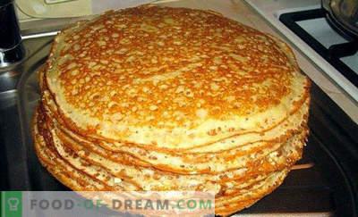 Teig für Pfannkuchen auf Kefir, Rezepte mit Milch, ohne Eier, Hefe, mit kochendem Wasser