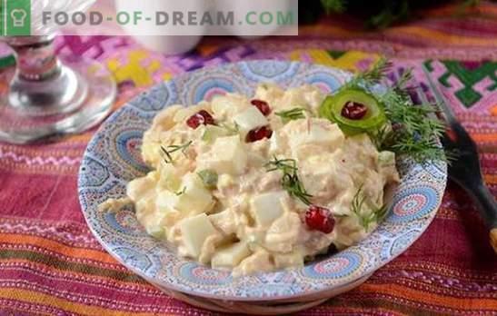 Thunfischsalat: Ein nützlicher proteinreicher Snack. Schritt für Schritt Rezeptur Foto-Rezept von würzigem Salat mit Thunfisch, Eiern, Käse