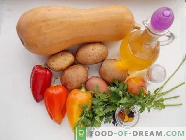 Ofenbackkartoffeln mit Kürbis und Gemüse
