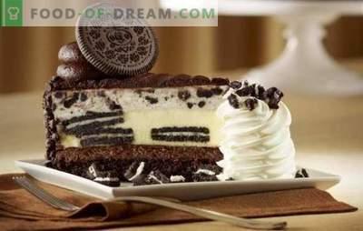 Weiß und Schwarz ist Oreo-Kuchen. Auf der Suche nach verfeinerter Harmonie des Geschmacks: Rezepte aus Oreo-Biskuitkuchen und Shortcake (mit Obst, Schokolade, Quark)
