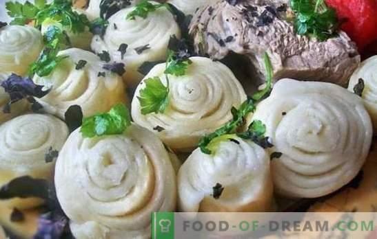 Puff Khinkali - Brötchen mit Geschmack! Verschiedene Rezepte für Puff-Khinkali mit Gemüse, Fleisch und Hackfleisch, im Ofen gedünstet, im Kessel