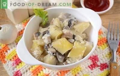 Kartoffeln mit Champignons im Ofen mit Sauerrahm - ein aromatisches und nahrhaftes Gericht. Autor Schritt für Schritt Foto-Rezept von Ofenkartoffeln mit Pilzen