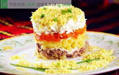 Mimosensalat mit Dorschleber ist ein bekannter Snack in einem neuen Format. Rezeptsalat