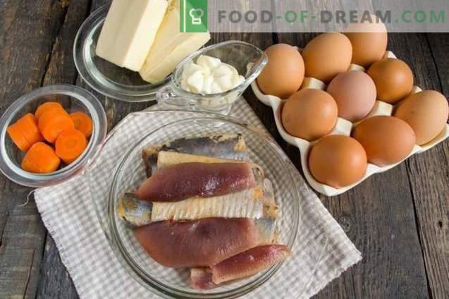 Gefüllte Eier mit Hering und geschmolzenem Käse
