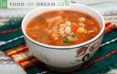 Suppe aus Bohnen in Dosen mit Käse, Äpfeln, Eintopf, Fisch. Rezepte für hausgemachte Dosenbohnensuppe