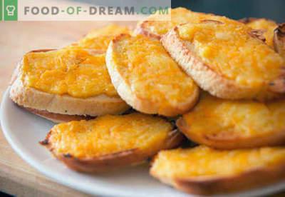 Croutons mit Käse - die besten Rezepte. Wie man richtig und lecker gekochte Croutons mit Käse bekommt.