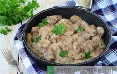 Der Geschmack von Schweinefleisch mit Champignons in Sauerrahmsauce erzeugt einen brutalen Appetit. Schweinefleisch mit Champignons in Sahnesauce im Ofen, Slow Cooker, Töpfe