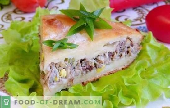 Torte mit Saury-Füllerpastete - noch ein, noch ein Stück! Rezepte erstaunliche Flutpasteten mit Saury und Gemüse, Müsli, Eier