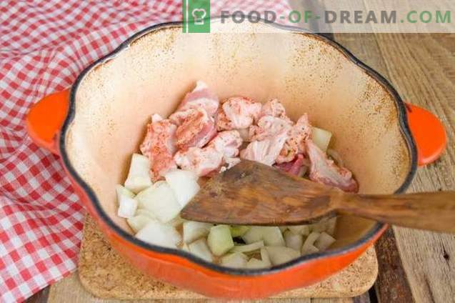 Geschmorte Schweinefleisch in Weißwein mit würzigen Gewürzen