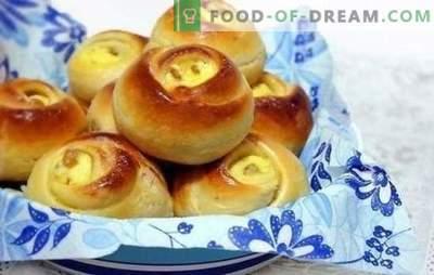 Quarkbrötchen - das zarteste und leckerste! Rezepte und Geheimnisse der Herstellung von Brötchen mit Hüttenkäse auf Milch, Wasser, Blätterteig