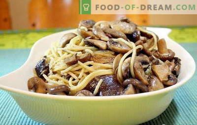 Les spaghettis aux champignons sont une combinaison inhabituelle de produits courants. Les meilleures recettes pour cuisiner des spaghettis aux champignons