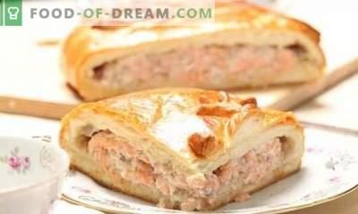 Fischkuchen Blätterteig ist eine großartige Lösung! Rezepte verschiedener Fischpasteten aus Blätterteig mit Kartoffeln, Eiern, Reis, Käse