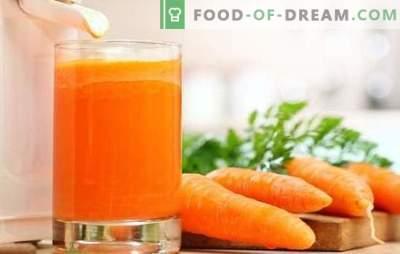 Karottensaft zu Hause: feste Vitamine! Rezepte aus natürlichem Karottensaft und Cocktails mit seiner Teilnahme