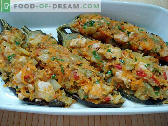 Auberginenboote mit Hühnchen und Gemüse, Schritt für Schritt mit Fotos