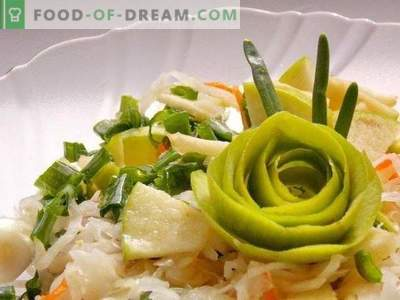 Salad from sauerkraut with apple and green onions