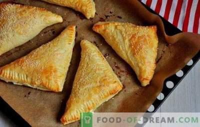 Hauch mit Hüttenkäse: süß, salzig im Ofen und in der Pfanne. Rezepte für verschiedene Blätterteiggebäck mit Hüttenkäse