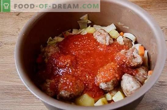 Gemüseeintopf mit Fleischbällchen in einem langsamen Kocher: ein herzhaftes und schönes Gericht. Schritt-für-Schritt-Fotorezept des Autors zum Kochen in einem Gemüsetopf-Multicooker