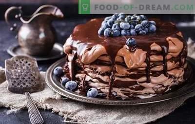 Schokoladen-Pancake-Torte - ein Leckerbissen aus der Pfanne! Rezepte einfache und festliche Schokoladen-Pfannkuchen mit verschiedenen Cremes