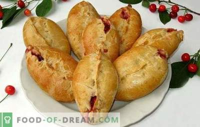 Pasteten mit Kirschen im Ofen aus verschiedenen Teigen. Geheimnisse der auslaufenden Kirschpastete im Ofen