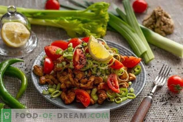 Diätetischer Salat mit Hähnchen ohne Mayonnaise