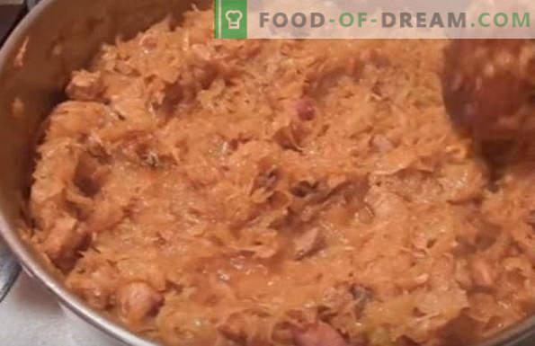 Bigus mit frischem Kohl, Rezepte mit Fleisch, Schweinefleisch, Hähnchenfleisch, Hackfleisch, Wurst, im Langsamkocher