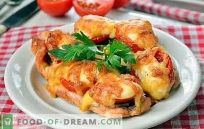 Hühnerkoteletts im Ofen - einzigartig lecker! Hühnerkoteletts im Ofen mit Pilzen, Gemüse, Käse