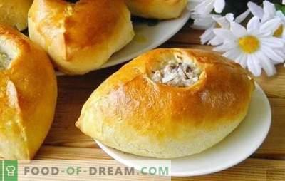 Pies mit Reis - köstliches russisches Gebäck. Rezepte mit Reis, Frühlingszwiebeln, Fisch, Hackfleisch und Pilzen