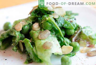 Salat mit grünen Erbsen - bewährte Rezepte. Wie man einen Salat mit grünen Erbsen kocht.