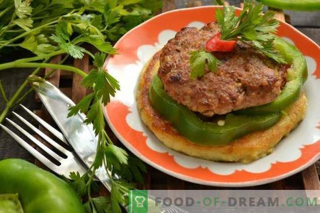 Koteletts auf Kartoffeltortillas - um die Gäste zu überraschen