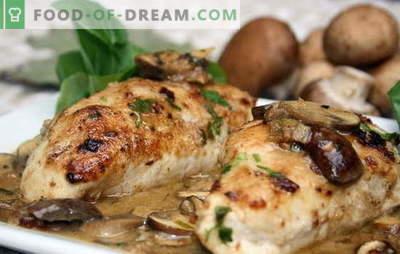 Hühnerfilet mit Champignons im Ofen ist die beste Lösung für ein Familienessen. Zubereitungsmethoden für Hähnchenfilet mit Champignons im Ofen