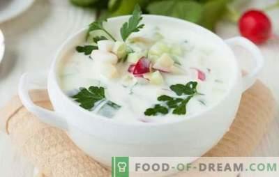 Okroshka auf Ayran: gesundes und schmackhaftes Gericht. Mehrere Rezepte okroshka on airana in der kulinarischen Hostie Sparschwein