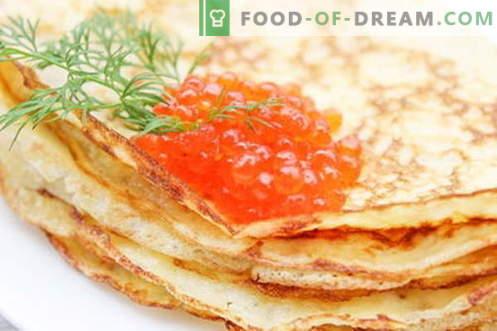 Pfannkuchen für Fasching mit Kaviar - ein schrittweises Rezept mit Fotos
