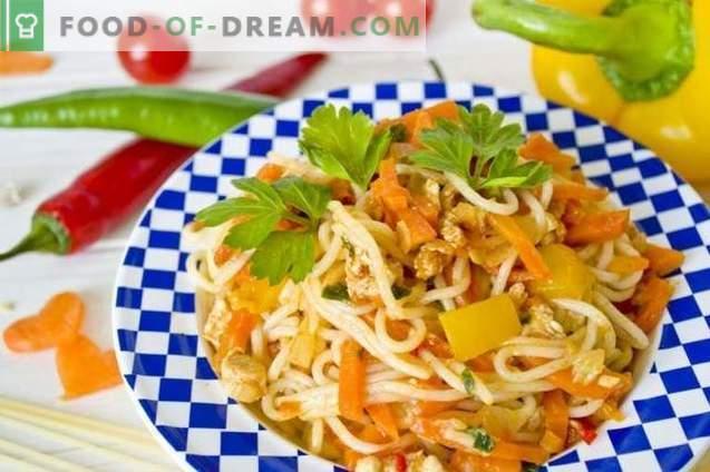 Spaghetti mit Hühnchen und Gemüse