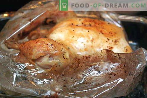 Hähnchen im Ärmel - die besten Rezepte. Wie man richtig und lecker Hühnerhülse zum Backen kocht.