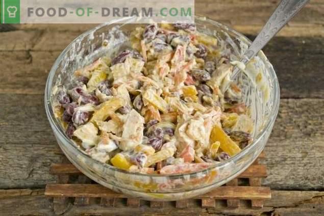 Salat mit roten Bohnen und Hühnchen